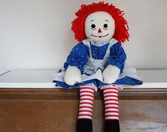 salvation armani vintage raggedy ann rag doll - handmade - larger doll - blue dress raggedy ann - annabelle knock off - 1980's