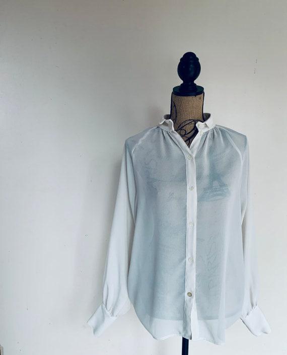 Vintage shear blouse - size 8 - off white