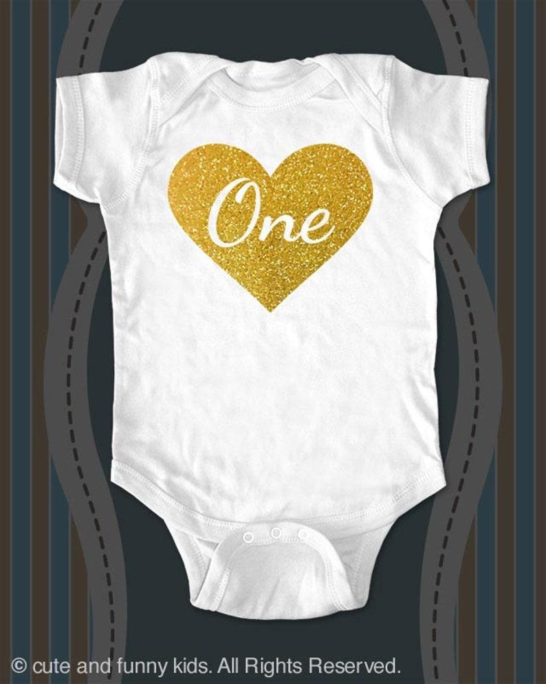 1f6bbd8e9 Custom First Birthday Heart Age One design2g Gold glitter | Etsy