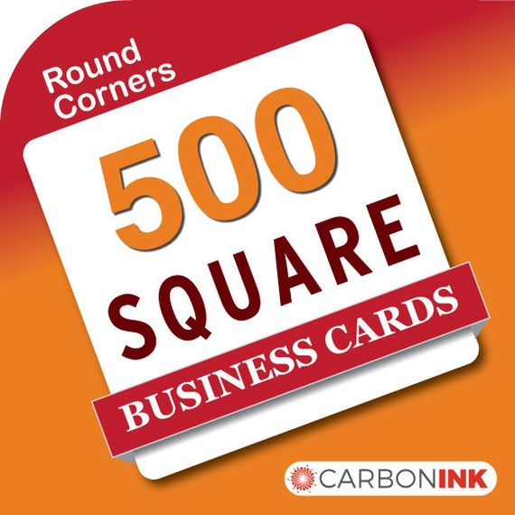 500 Square Business Card Printing Rounded Corners Mini Etsy