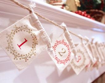 Christmas Advent Calendar Garland - Custom Colors - Wreath Set