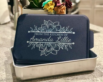 Custom Engraved Cake Pan with Lid - Personalized Aluminum Cake Pan - Personalized Kitchen Gift - From the Kitchen of -Kitchen Monogram Gift