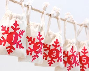 Christmas Advent Calendar Garland - Custom Color - Snowflake Set