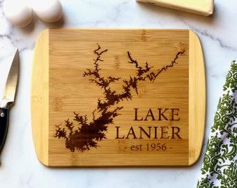 Lake Lanier Cutting Board - Lake Sidney Lanier Georgia Bamboo Cutting Board