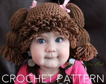 Crochet Pattern Cabbage Patch Hat - Cabbage Patch Hat Pattern - Cabbage  Patch Wig - Cabbage Patch Kid Hat - Cabbage Patch Costume 595ea0b4290