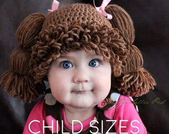 Cabbage Patch Kid Hat - Cabbage Patch Hat - Cabbage Patch Wig for Kids -  Cabbage Patch Crochet Wig - Cabbage Patch Costume - Child Size Hats 790874fc047