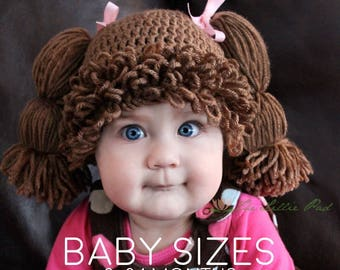 Cabbage Patch Wig Hat - Cabbage Patch Kid Wig For Baby - Cabbage Patch Hat- Cabbage  Patch Crochet Hat - Cabbage Patch Baby Costume - 0-24 Mo 10b83b4742a