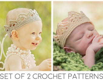 Crochet Crown Patterns - Crown Crochet Pattern - Crochet Tiara Pattern - Baby Crown - Birthday crown - Instant download -Set of 2 -All sizes