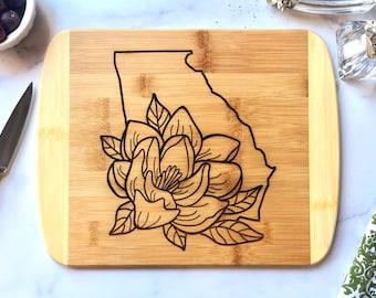 Georgia Cutting Board - State of Georgia with Magnolia Blossom Bamboo Cutting Board