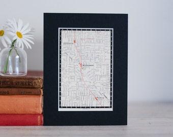 "1950s map of Melbourne suburbs, Australia - Bentleigh, Moorabbin and Highett, ready to frame, 6 x 8"""