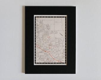 "1950s map of Melbourne suburbs, Australia - Dandenong, ready to frame, 6 x 8"""