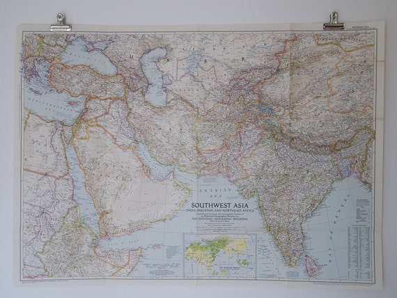 Map Of India Geographic.1952 National Geographic Wall Map Of Southwest Asia India Etsy