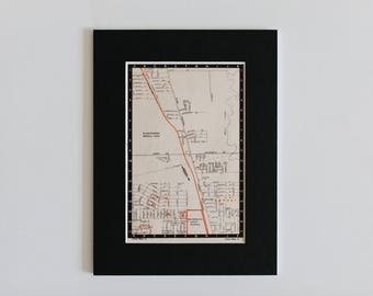 """1950s map of Melbourne suburbs, Australia - Upfield, Fawkner, Glenroy, Hadfield, Melbourne general cemetery, ready to frame, 6 x 8"""""""