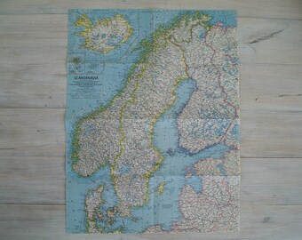 1963 scandinavia vintage national geographic wall map