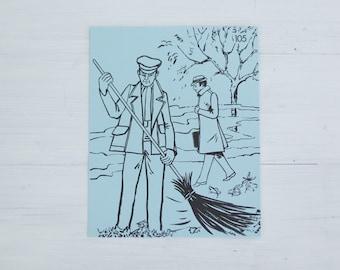 vintage french flash card - gardener in park