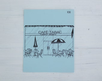 vintage french flash card - cafe tabac