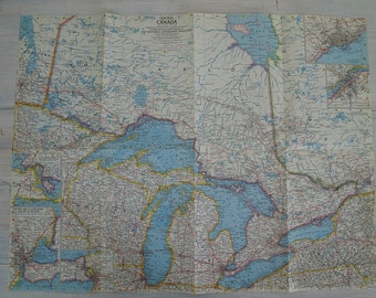 1963 vintage central canada national geographic wall map