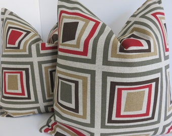 Geometric pillow cover, Red brown green beige pillow cover, Red pillow cover, Green pillow cover, Beige pillow cover
