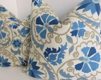 Linen Blue Pillow Cover, Taupe Blue Pillow Cover, Blue Floral Pillow, Pillow Cover, Linen Pillow