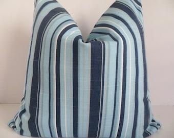 18x18 Pillow Cover- Striped Pillow Cover - Pillow Cover - Blue Striped Pillow Cover - Striped Pillow - Aqua Pillow