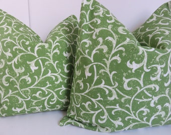 Green Floral Pillow - 20x20 Pillow Cover - Green Pillow Cover - Cream Green Pillow - Pillow Cover