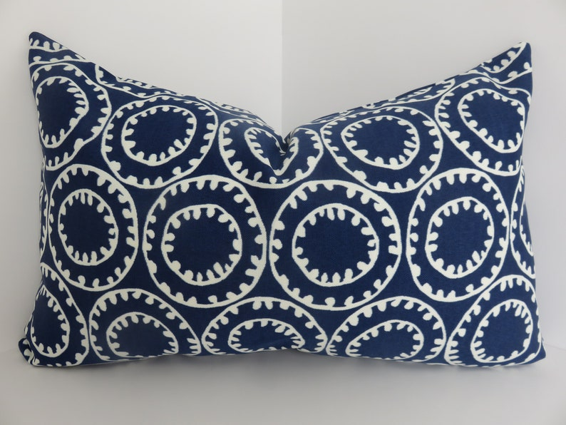 Blue White Outdoor Pillow Cover 12x20 Etsy