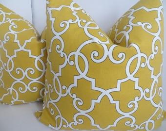 Mustard Pillow Cover, 18x18, 20x20 Yellow Pillow, Pillow Cover, White Pillow, Pillow, Mustard white Pillow