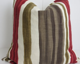 Red Brown Pillow - Pillow cover- 20x20 Pillow Cover - Olive Green Pillow - Striped pillows - Red Striped Pillow - Pillow Cover - Red Pillow