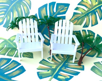 Beach chair cupcake or cake topper kit - with palm trees- 5 pc set