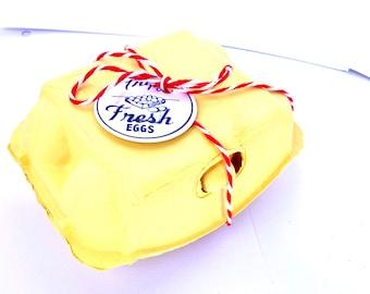 Half dozen sized egg cartons - Count of 4-yellow