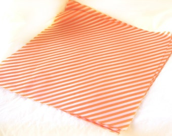 25 Orange Diagonal Stripe WAX PAPER sheets-Pink Lemonade party shop EXCLUSIVE-basket liners-food safe