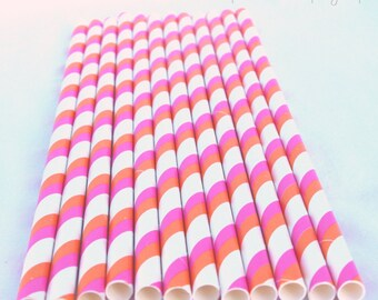 HoT PinK and Orange DouBLE Stripe-Paper Straws 25ct-- with Free Printable Flags