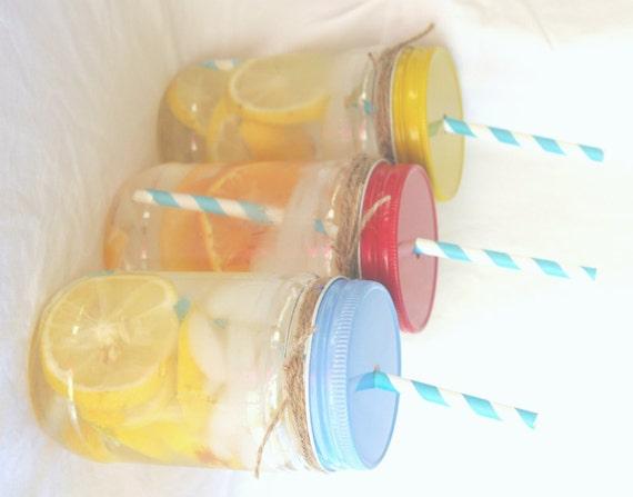 Red Light Blue Yellow Straw Hole Plastic Mason Jars Etsy
