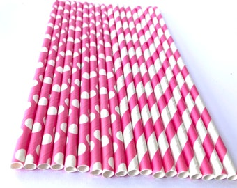 Bright pink dot and stripe--Paper  Straws---25ct- -Decorations