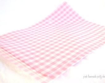 Pink Gingham Wax PaPER-BeRRY BaSKET LiNERS-sandwich-krafts- Birthday Parties, Showers, Weddings-12ct