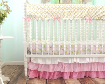Bumerless Cribset in Gold, Pink, and Green with a Flamingo Theme, Flamingo Nursery, Pink and Gold Nursery, Pink Ombre Skirt