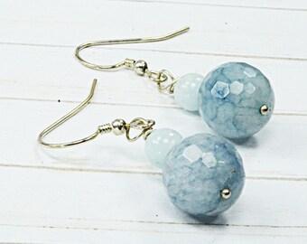 Light Blue Genuine Aquamarine Beaded Dangle and Drop Earrings