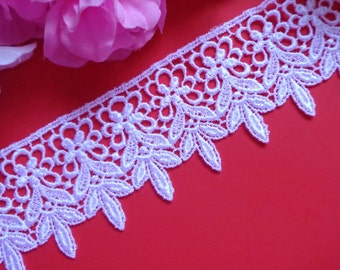 Venise Lace trim, 2+1/4 inch wide -white price for 1 yard
