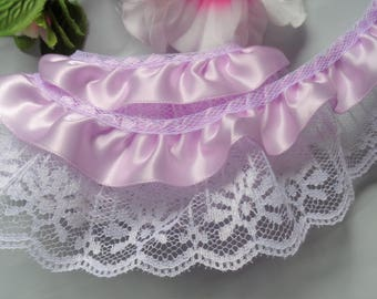 Ruffled Lace and Ribbon, 2+1/4 inch wide select red/white or orchid/white selling by the yard