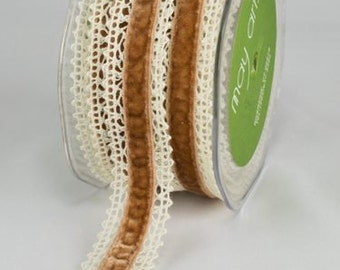 natural/gold 1 Inch Crochet / Velvet Center Ribbon selling by the yard