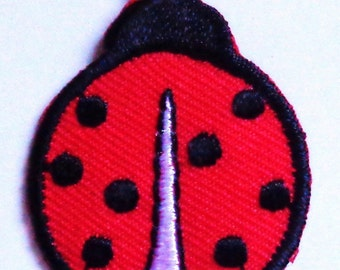 lady bug medium red and black twill iron on patch applique