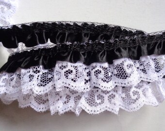 """black/white Satin Floral Ruffle Lace Trim 1"""" price for 1 yard"""