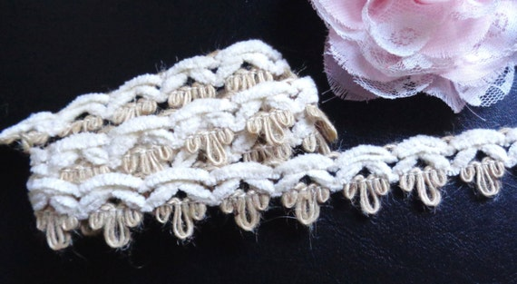 7//8 inch wide white color  selling by the yard Chenille Braid