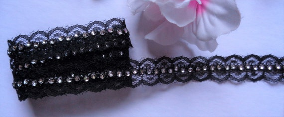 2 3//8 inch wide  black gold thread embroidery lace trim  selling by the yard