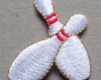 bowling pins iron on patch 1 pc