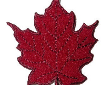 Iron On Patch Applique - Leaf Burgundy