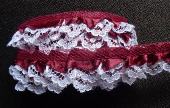 Satin  Ruffle Lace Trim 3//4 inch wide  burgundy //white  selling by the yard