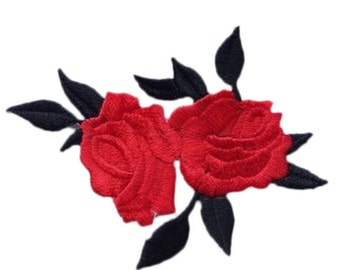 red Rose Applique  Patch Embroidered  Iron on