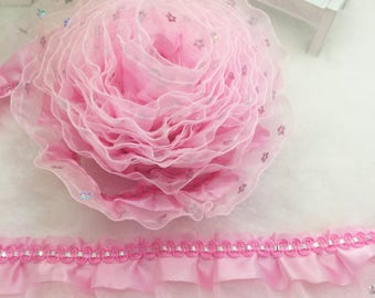 1 3/4 inch wide pink ruffled lace  price for 1 yard