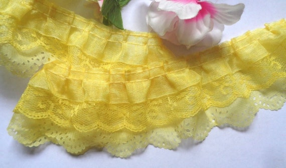 YELLOW~2 Inch Wide Ruffled Floral Lace Trim~By 5 Yards